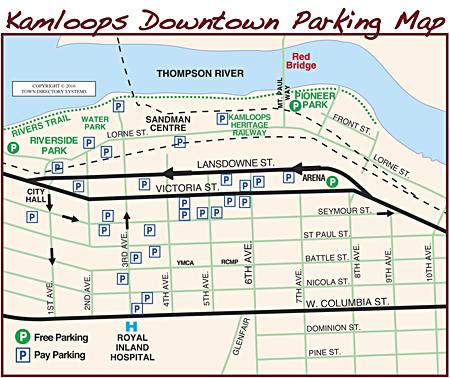 Kamloops Area Map, Kamloops Downtown Parking Map